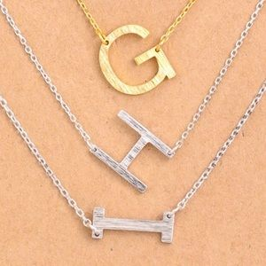 Jewelry - NEW! Brushed Silver Initial Necklace A B C D E F G